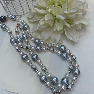 Vintage Gray and Silver Beaded Necklace